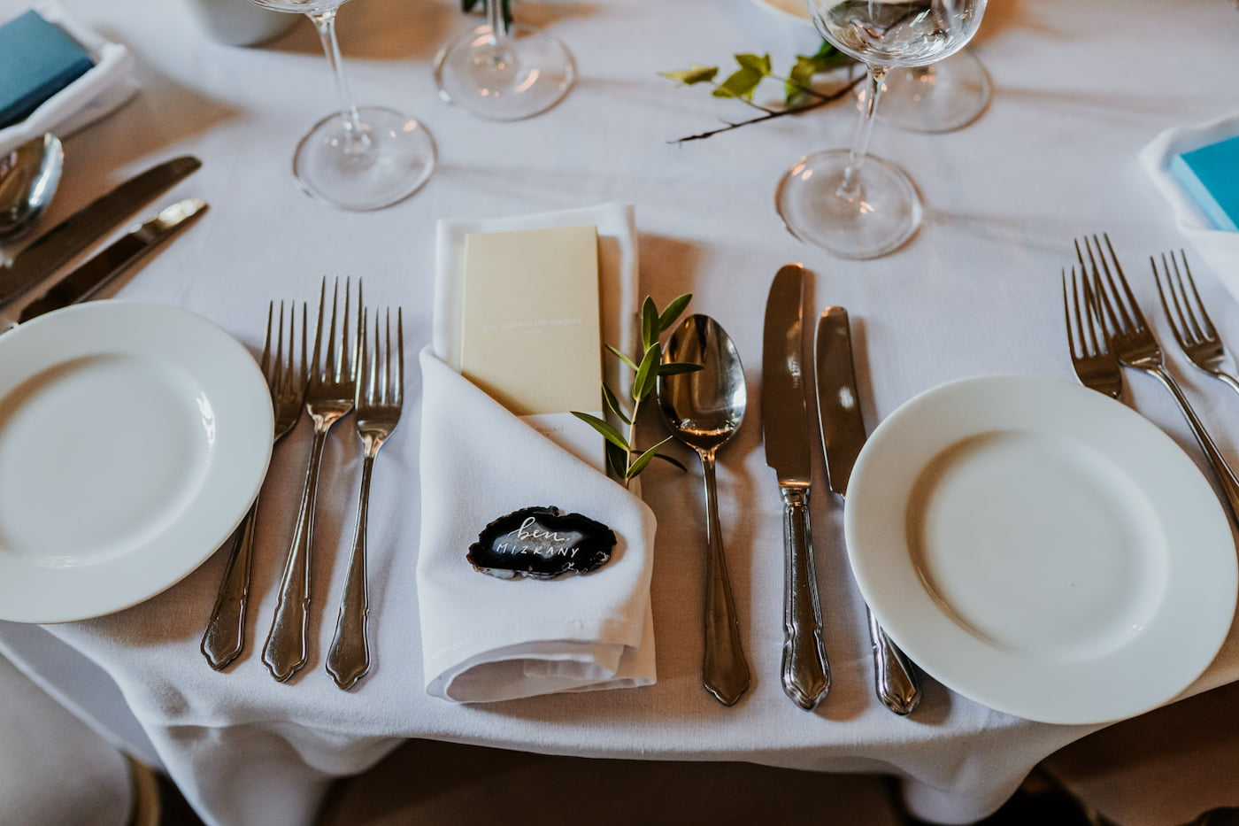 close up for wedding table cutlery
