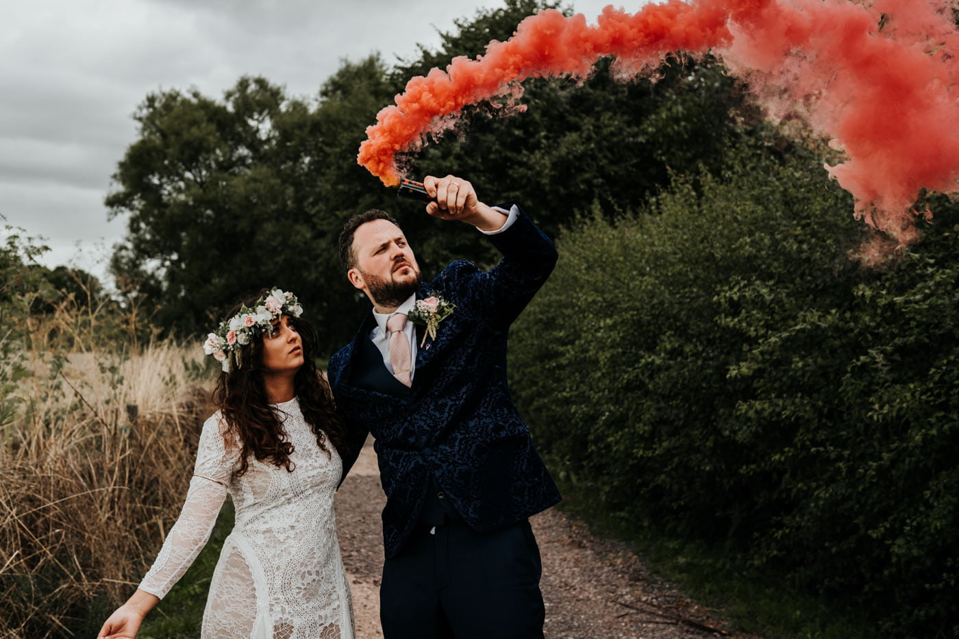 old summer dairy wedding smoke grenades