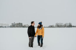 engagement photoshoot in the snow