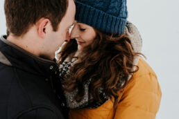snow engagement shoot in field