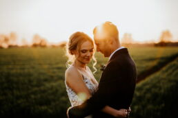 golden hour photography with the bride and groom