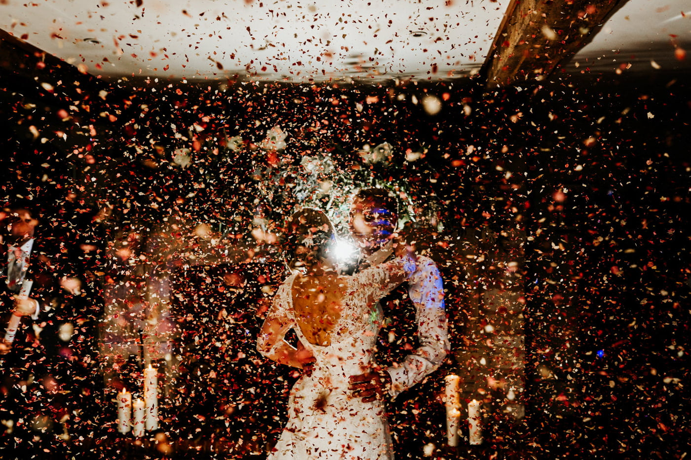 confetti cannon during wedding first dance