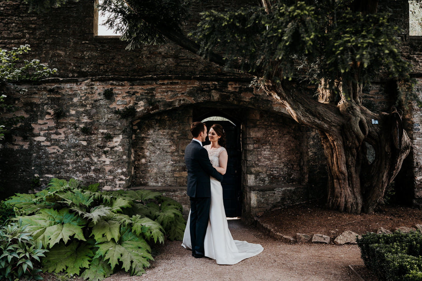 bride and groom portraits in garden
