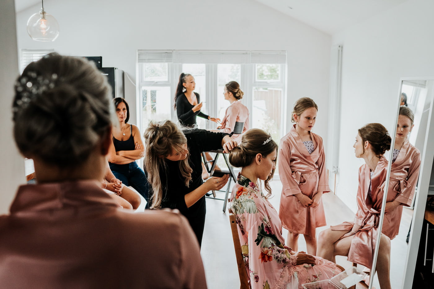 bridal party getting ready in house