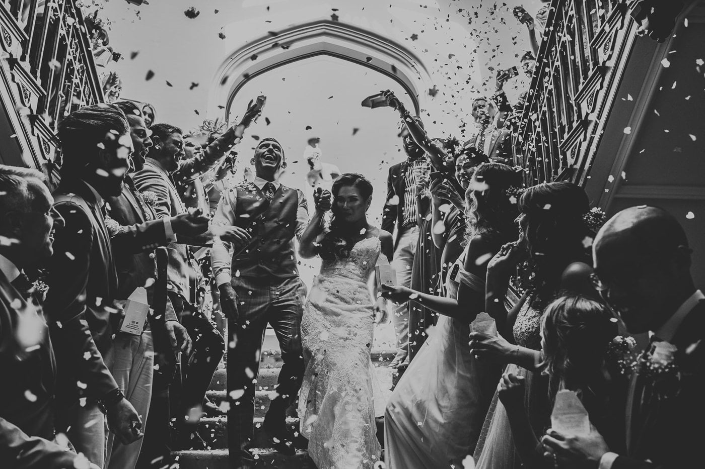 wedding confetti on stairs