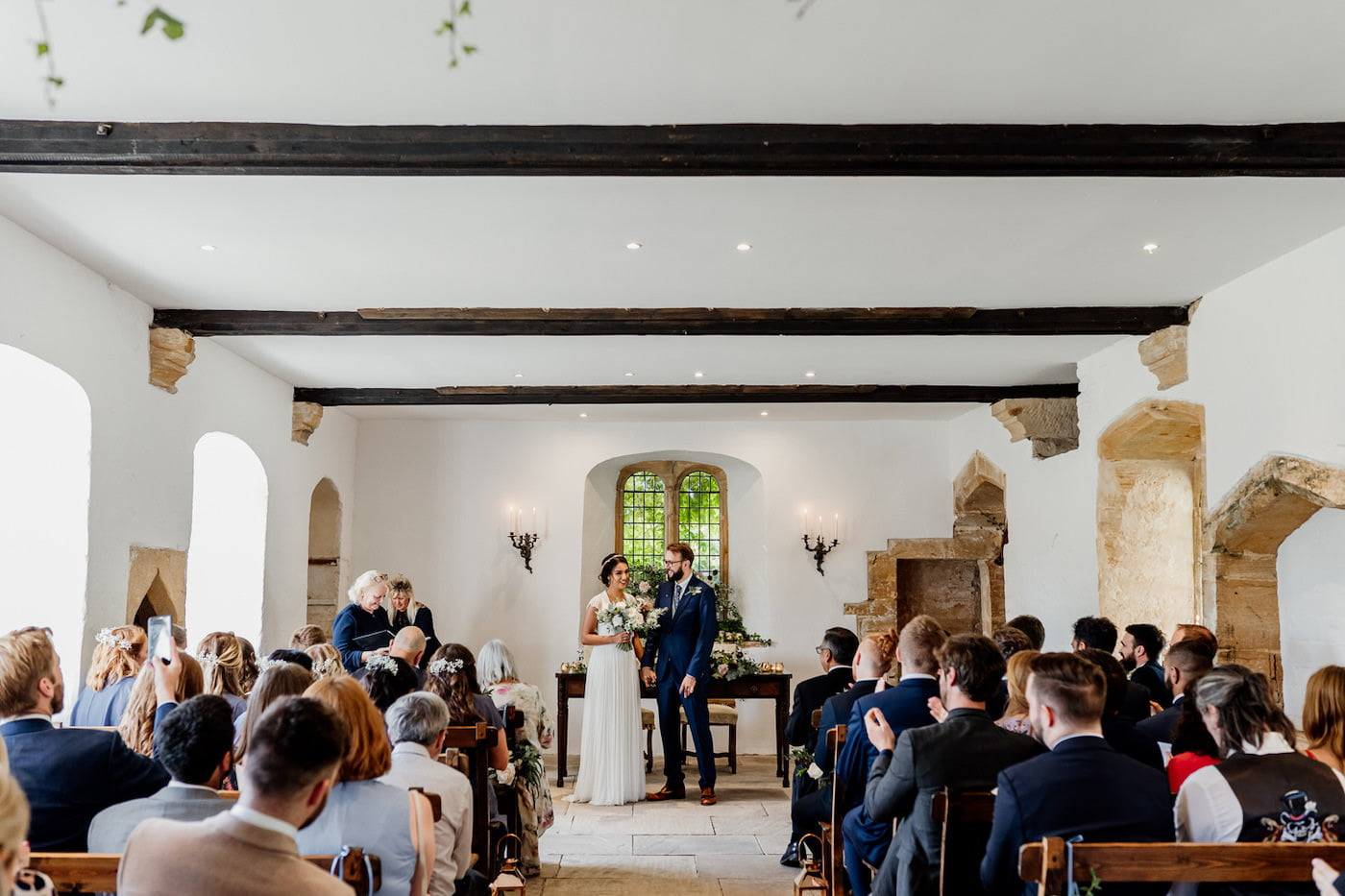 bride and groom in the ceremony room