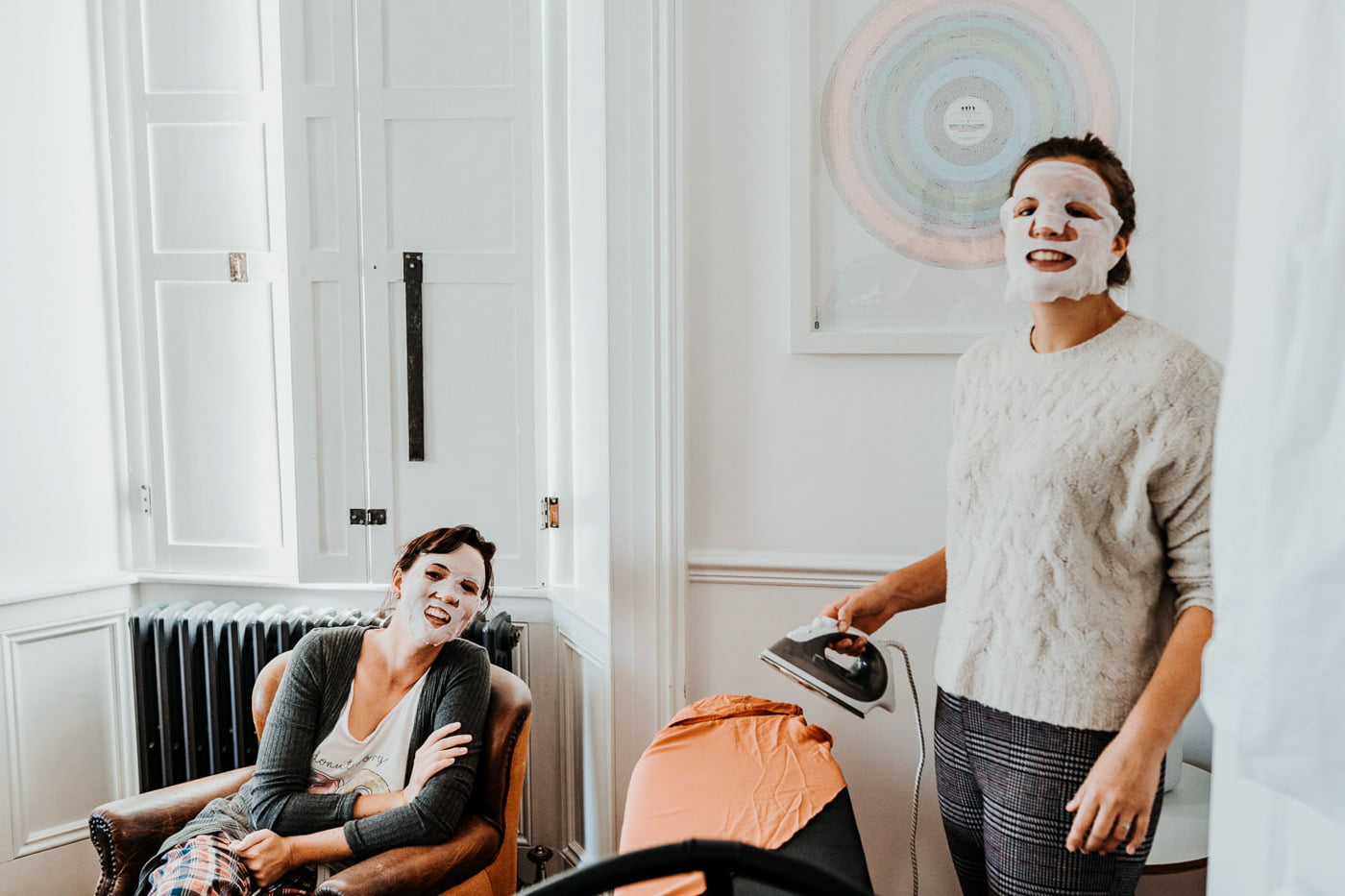 wedding guests applying face masks