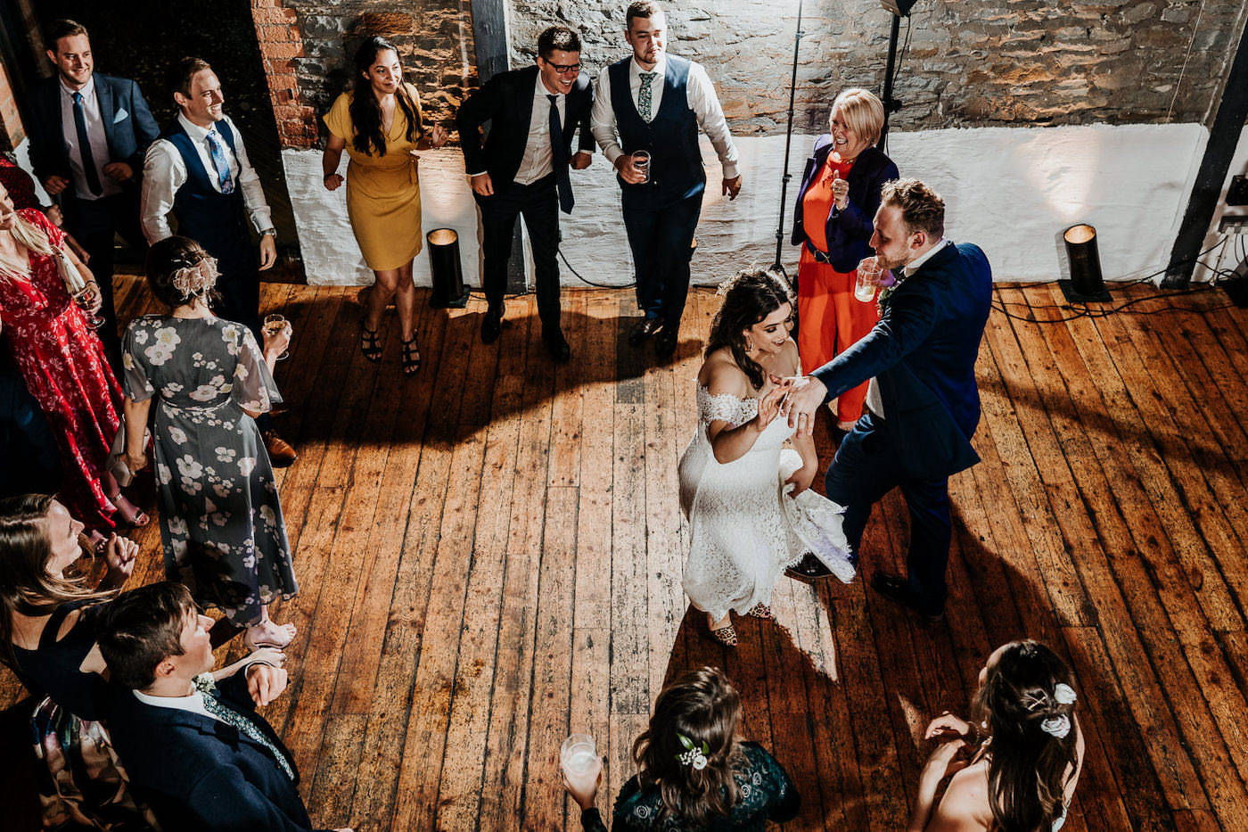 bride and grooms first dance from above