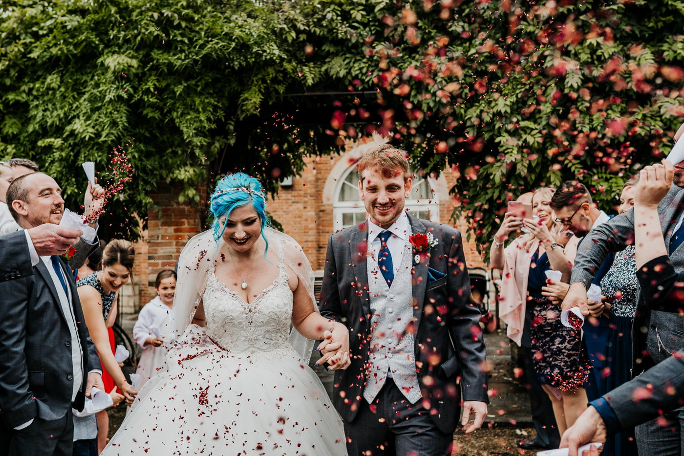 wedding confetti tunnel at Charlton house