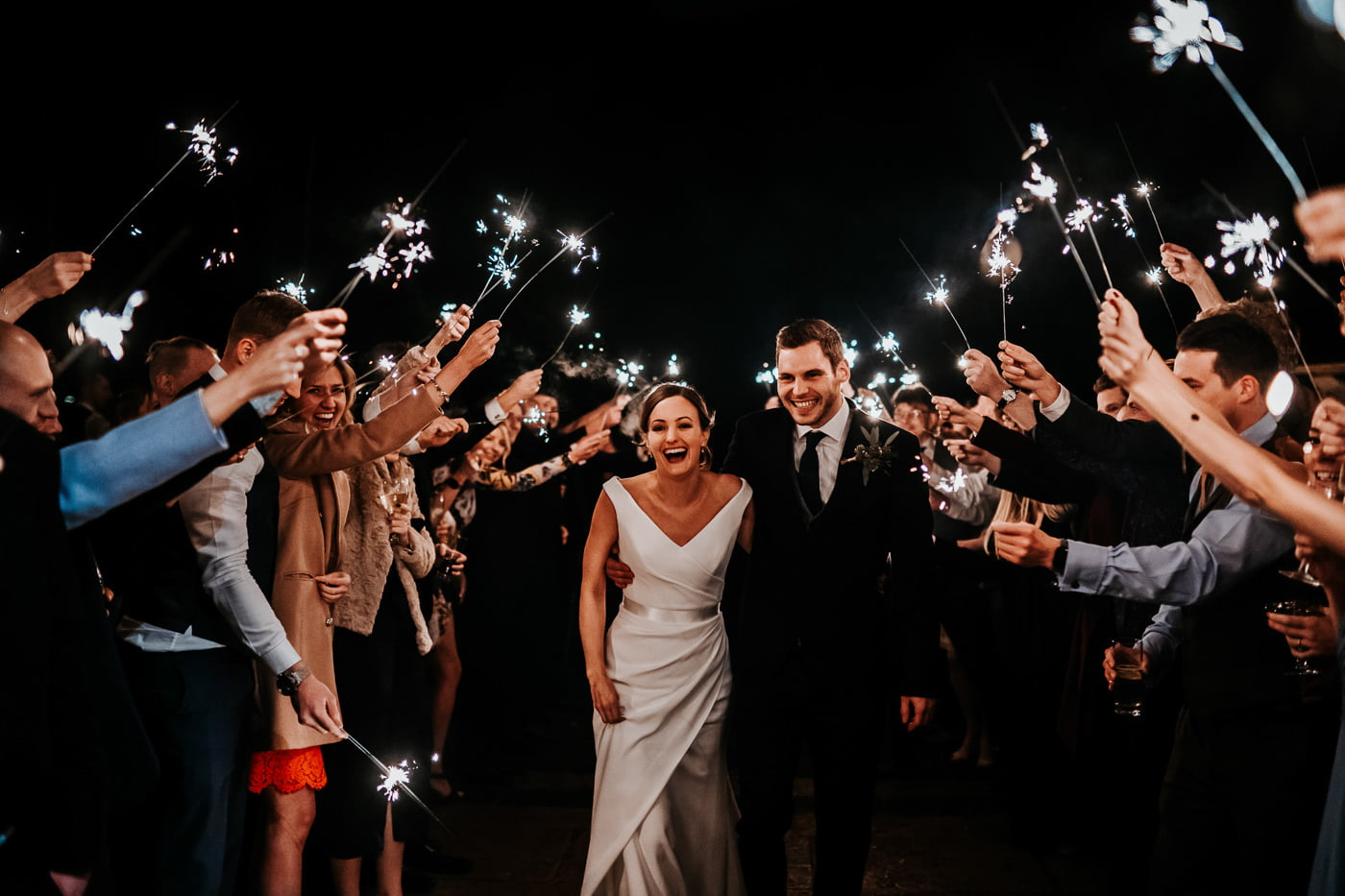 sparklers wedding tunnel